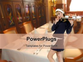 PowerPoint template displaying young blond waitress holding tray with two cups of coffee dining room restaurant view