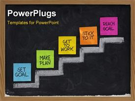 PowerPoint template displaying met goal make plan work stick to it reach concept presented on blackboard with color notes