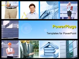 PowerPoint template displaying set of smiling workers people