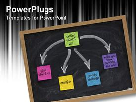 PowerPoint template displaying benefits of setting goals presented on blackboard with color sticky notes and white chalk