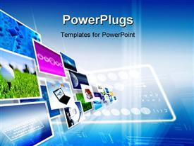 PowerPoint template displaying monitors screens with colorful images over digital blue background