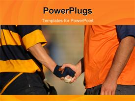 PowerPoint template displaying handshake between rugby player and coach after rmatch