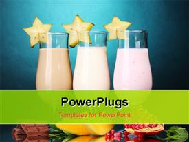 Milk shakes with fruits and chocolate on blue background template for powerpoint