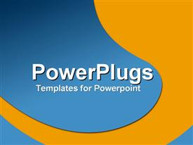 PowerPoint template displaying funky blue shape with yellow curve in the background.
