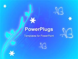 PowerPoint template displaying glowing branch with leaves and butterflies white snowflakes on blue background