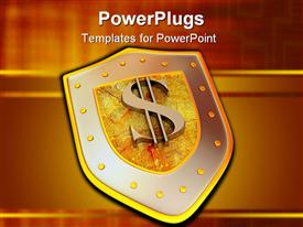 PowerPoint template displaying shield with dollar. 3D Very beautiful three-dimensional depiction figure in the background.