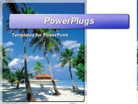 PowerPoint template displaying palm trees and a resort hut on the beautiful beach