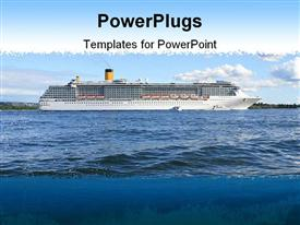 PowerPoint template displaying cruise ship in Oslo Fjord on a fine summer's day in the background.