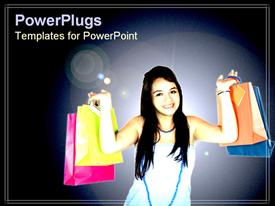 PowerPoint template displaying girl happily holding shopping bags