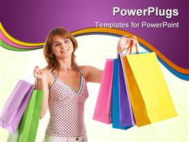 PowerPoint template displaying happy female with bags looking at camera with smile