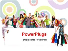 PowerPoint template displaying happy shopping people