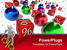 PowerPoint template displaying red cubes with a symbol of percent and Christmas balls in the background.