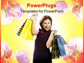 PowerPoint template displaying woman with shopping bags on yellow background with flowers, retail, e commerce