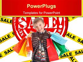 PowerPoint template displaying happy smiling boy holding many colorful shopping bags on sale sign background