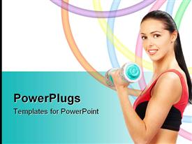 PowerPoint template displaying adult smiling female in gym outfit lifting up a dumbbell