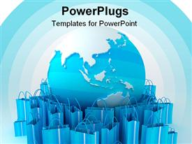 PowerPoint template displaying world globe surrounded by shopping bags in white and turquoise shades in the background.