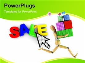 PowerPoint template displaying a wooden character running with colorful boxes and a text that spells out