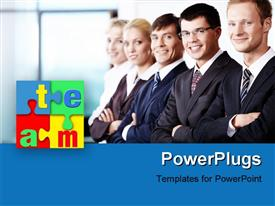 PowerPoint template displaying team members shoulder to shoulder each other