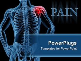 PowerPoint template displaying shoulder pain on skeleton black background