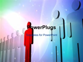 PowerPoint template displaying animated leadership depiction as red 3D man stand out