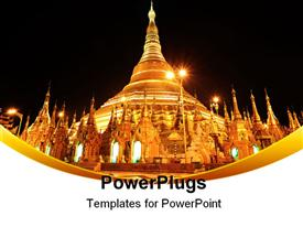 PowerPoint template displaying shwedagon Pagoda At Night, the most famous pagoda in Yangon, Myanmar