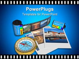 PowerPoint template displaying golden compass pictures and film canisters on film strip