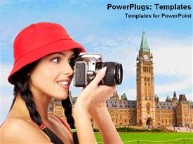 PowerPoint template displaying a girl taking a photo with buildings in the background
