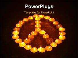 PowerPoint template displaying a reddish and blackish background with a lot of candles