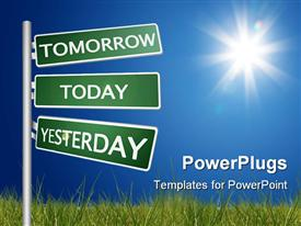 PowerPoint template displaying outdoor roadside sign written tomorrow, today, yesterday