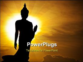 PowerPoint template displaying silhouette of s Buddha statue, Thailand in the background.