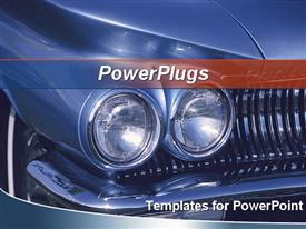 PowerPoint template displaying close up of the Headlights of blue classic car