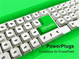 PowerPoint template displaying depiction of computer keyboard with all arrow keys pointing to simplify key