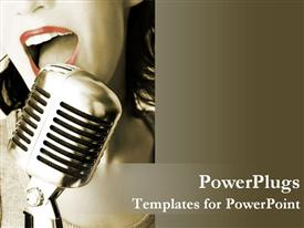 PowerPoint template displaying retro singer with her microphone in the background.