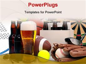 PowerPoint template displaying six pack of beer and frothy glass surrounded by sports equipment