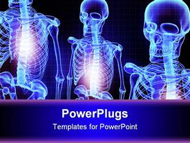 PowerPoint template displaying three blue shinning 3D human skeletons over a blue background