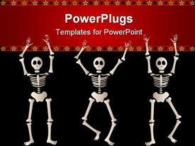 PowerPoint template displaying three spooky skeletons jump and dance around - bordered by black and orange elements