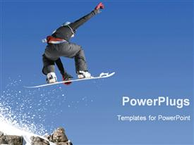 PowerPoint template displaying snowboarder in mid jump, snow, ski slope