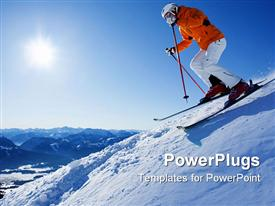PowerPoint template displaying male skier in front of mountain panorama at sunshine