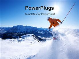 PowerPoint template displaying a skier showing his skills with mountains in the background