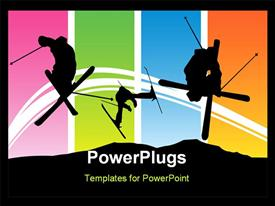 PowerPoint template displaying abstract colorful depiction with skiers skiing and jumping for poster or card in the background.