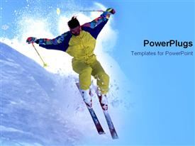 PowerPoint template displaying ski diver in yellow skiing fast through a heap of snow