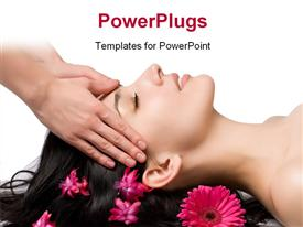 PowerPoint template displaying a pretty lady smiling and getting a facial massage