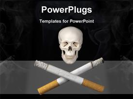 Two cigarettes replace the usual crossbones helping to illustrate the dangers of smoking presentation background
