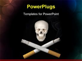 PowerPoint template displaying a white human skull with two crossed burning cigarrettes
