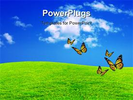 PowerPoint template displaying a green field with a umber of butterflies