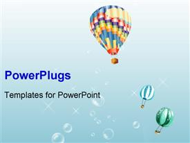 PowerPoint template displaying a number of balloons with bluish background and bubbles