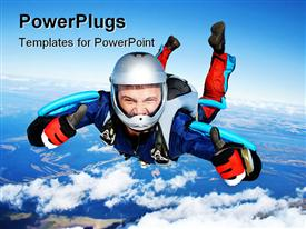 PowerPoint template displaying skydiver falls through the air. All right! Thumbs up! Parachuting is fun