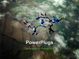 PowerPoint template displaying eight sky divers in cloudy sky performing stunts