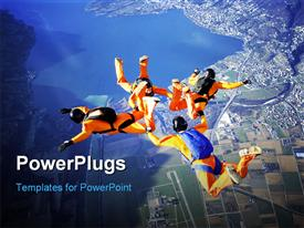 PowerPoint template displaying four skydivers performing stunt in sky over modern city with lakes and mountains