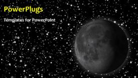 PowerPoint template displaying animated depiction of the solar system with moon and stars - widescreen format